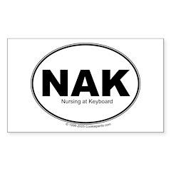 NAK- Nursing at Keyboard Rectangle Sticker 10 pk)