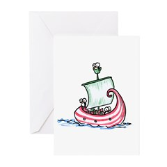 Christmas penguins in a boat Greeting Cards (Pk of