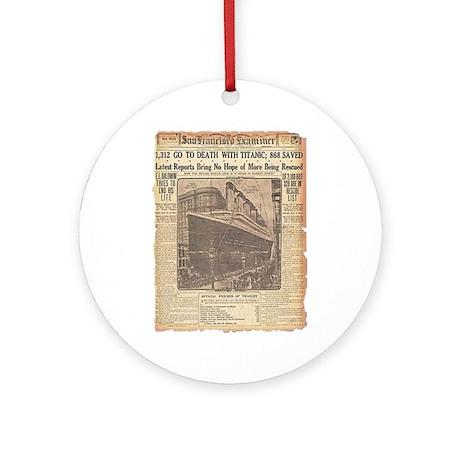 San Francisco Examiner, Titanic Ornament (Round)