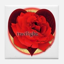 itwilight Do You? Red Rose of Love Tile Coaster