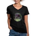Little Fawn Women's V-Neck Dark T-Shirt