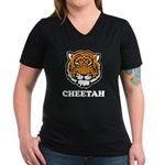 Cheetah Women's V-Neck Dark T-Shirt