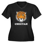 Cheetah Women's Plus Size V-Neck Dark T-Shirt