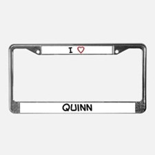 I Love quinn License Plate Frame