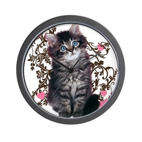 Cute kitten kitty cat lover wall clock by theloveofcats - Kitty cat clock ...