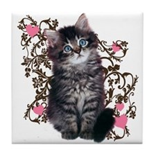 Cute Kitten Kitty Cat Lover Tile Coaster