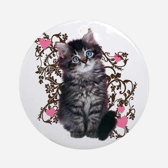 Cute Kitten Kitty Cat Lover Ornament (Round)
