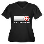 Switzerland Vintage Women's Plus Size V-Neck Dark