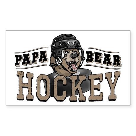 Papa Bear Hockey 2 Rectangle Sticker