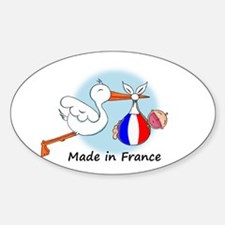 Stork Baby France Oval Decal
