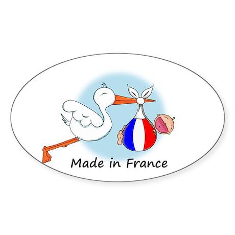 Stork Baby France Oval Sticker