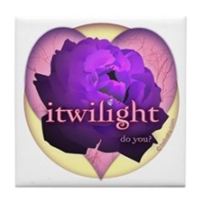 itwilight Do You? Purple Rose of Love Tile Coaster