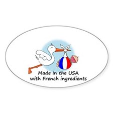 Stork Baby France USA Oval Decal