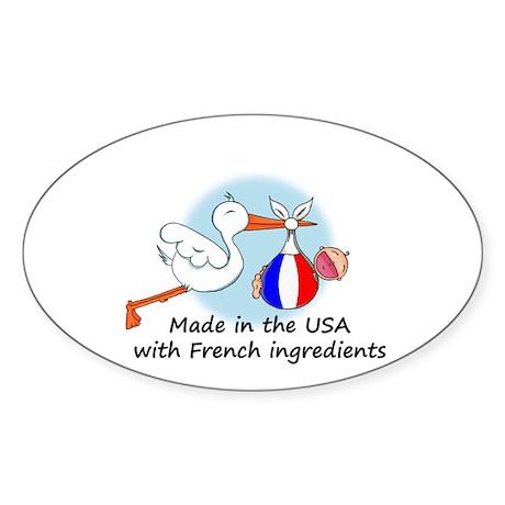 Stork Baby France USA Oval Sticker