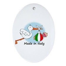 Stork Baby Italy Oval Ornament