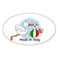 Stork Baby Italy Oval Decal