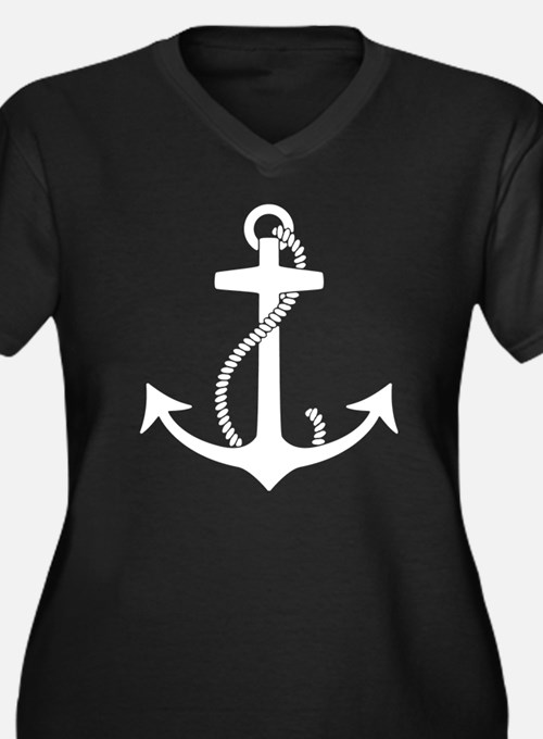 Anchor Women's Plus Size V-Neck Dark T-Shirt