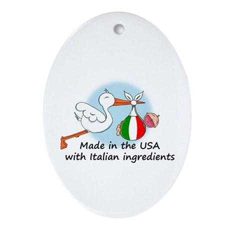 Stork Baby Italy USA Oval Ornament