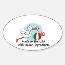 Stork Baby Italy USA Oval Decal