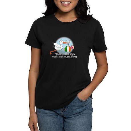 Stork Baby Ireland USA Women's Dark T-Shirt