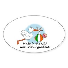 Stork Baby Ireland USA Oval Decal
