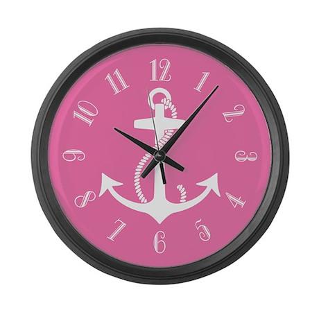 Pink Anchor Large Wall Clock