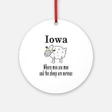 Iowa Sheep Ornament (Round)