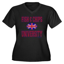 FISH AND CHIPS Women's Plus Size V-Neck Dark T-Shi