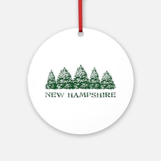 NH Winter Evergreens Ornament (Round)