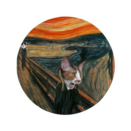 """The Scream with Cats 3.5"""" Button"""