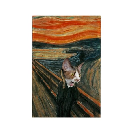 The Scream with Cats Rectangle Magnet