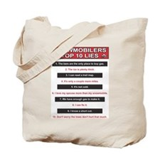 Snowmobilers Top Ten Lies Tote Bag