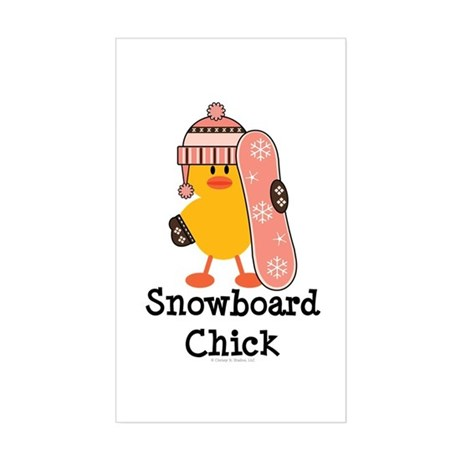 Snowboard Chick Rectangle Sticker