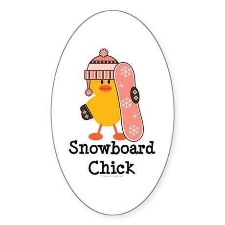 Snowboard Chick Oval Sticker