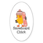 Snowboard Chick Oval Sticker (10 pk)