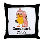 Snowboard Chick Throw Pillow