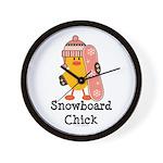 Snowboard Chick Wall Clock