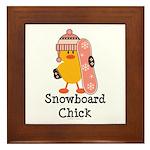 Snowboard Chick Framed Tile