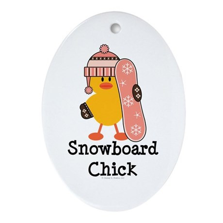 Snowboard Chick Oval Ornament