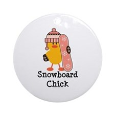 Snowboard Chick Ornament (Round)