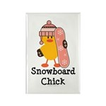 Snowboard Chick Rectangle Magnet (100 pack)