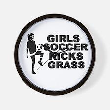 Girls Soccer Kicks Wall Clock