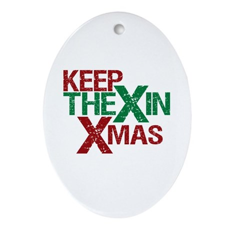 Keep the X in Xmas Oval Ornament