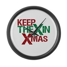 Keep the X in Xmas Large Wall Clock
