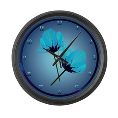 Two Electric Blue Flowers Large Wall Clock