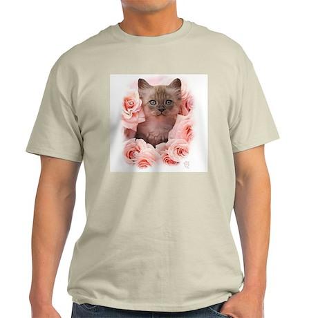 Cute Kitten In Pink Roses Light T-Shirt