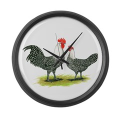 Campine Chicken Pair Large Wall Clock