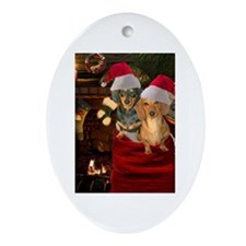 Toy Bag Doxies Oval Ornament