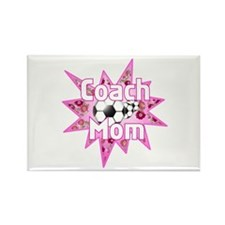 Soccer Coach Pink Rectangle Magnet