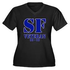 Blue Women's Plus Size V-Neck Dark T-Shirt